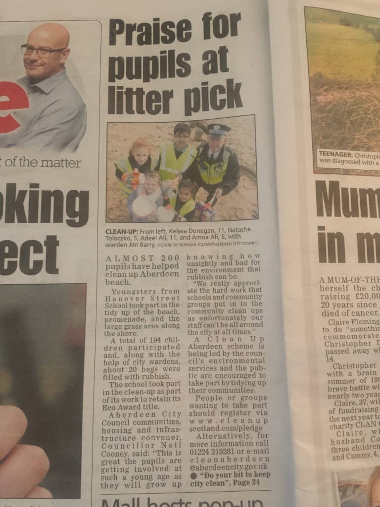 Tuesday 29.3.16 Evening Express, Litter Pick