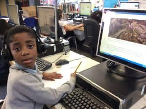 Michael researching endangered animals.